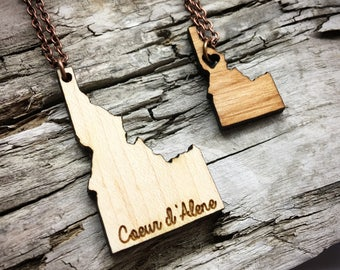 Custom Idaho Wood State Necklace - Two Sizes - Customizable Wood Necklace - Wooden ID State Jewelry with Copper Tone Chain