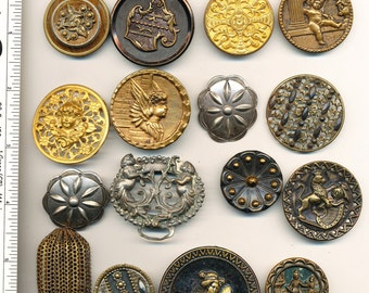 Antique Vintage  Buttons- Metals for  Crafting Shankless  Lot#2    Ca. 1890's to  1930's