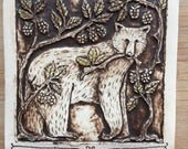 Bear with berries handmade ceramic tile
