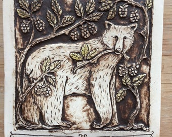 Bear with berries handmade ceramic tile