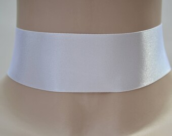 Plain Classic WHITE Double Satin WIDE 35mm 1.5 inch Ribbon Choker Necklace- fr... or other colours, hand made to size :)