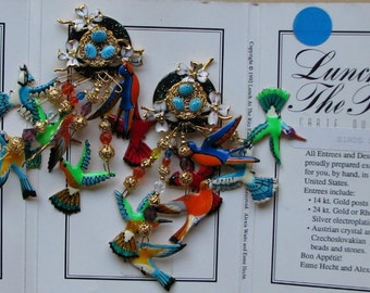 Lunch At The Ritz Birds Do It Vintage Clip Earrings