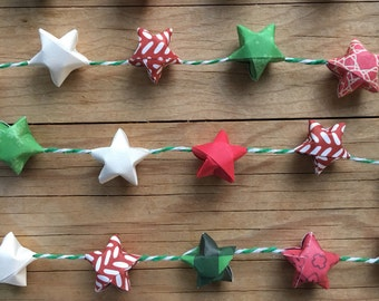Christmas Garland with Origami Stars on Green and White Bakers Twine, 6 feet long.