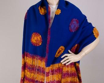 Wrap ,crochet shawl,Tribal patterned ,wrap ,crochet wrap  cowl shawl , shrug capelet  ,in royal blue