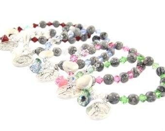 Patron Saint Rosary Bracelet, Swarovski Crystals with Agate Beads - You Choose Saint & Crystal Color