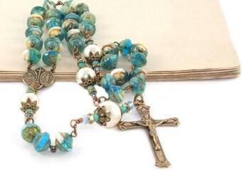Catholic Woman's Rosary | 3 Decade Swarovski® Pearls & Czech Glass Beads