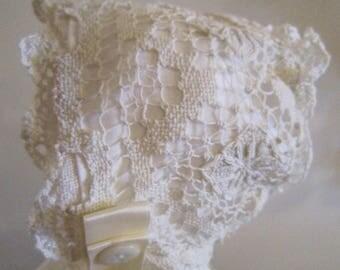 SALE!! Antique (and New) Ivory Lace Bonnet