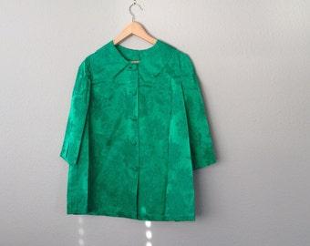 Vintage 60s Emerald Green Jacket, 1960 Brocade Evening Jacket, Green Satin Dress Coat