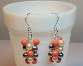 25% OFF SALE thru Mon. Coral Gray Ivory Pearl Cluster Earrings, Mothers Day, Mom Sister Jewelry, Wedding Jewelry, Cocktail, Waterfall Drop