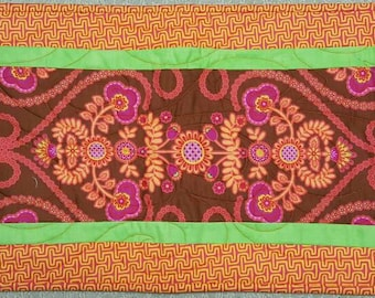 Art Deco or Noveau Modern Orange Tangerine Dark Brown Bright Pink and Green Quilted Table Runner