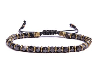 Accessories for Men - Gunmetal and brass beads bracelet for Men - Black faux leather sliding knot closure - Gifts for Dad - Gifts for him.