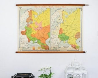 SALE Vintage Pull Down Map, Webster Knowlton European History Map Russia