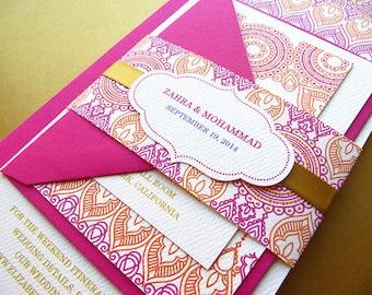 Indian Wedding Invitation, Henna Inspired Wedding Invitation, Pink and Gold Invitation - 35 invitation sets