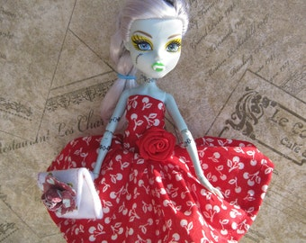 Monster High Doll Dress Doll Clothes Red Cherries Dress Clutch Bag