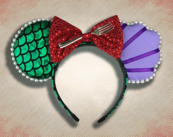 The Original Mermaid Princess Mouse Ear Headband with Fork & Bow