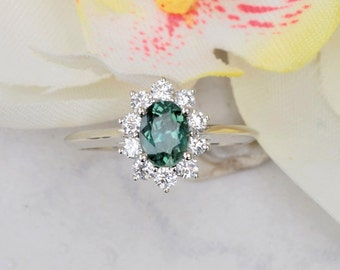 Blue Green Sapphire Diamond Cluster Engagement Ring, Kate Middleton Style Ring
