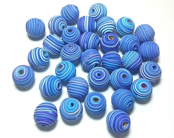 10 Fimo Polymer Clay Fimo Beads Blue white Round Spiral color 14mm