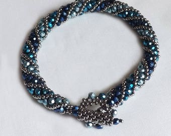 Blue and Silver Bracelet Handcrafted blue tones and silver beaded bracelet