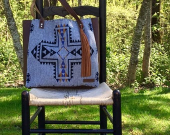 Large Tote Bag // Rustic Mission Cross Pendleton Wool Oiled Leather with Tassel // Rosebud Originals