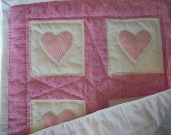 Doll quilt,  pink and white, pink hearts, doll blanket