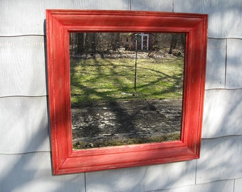 Large Rustic Recycled Mirror Red