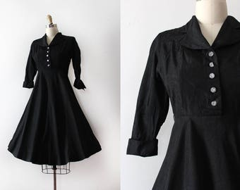 CLEARANCE vintage 1940s dress // 40s little black evening dress