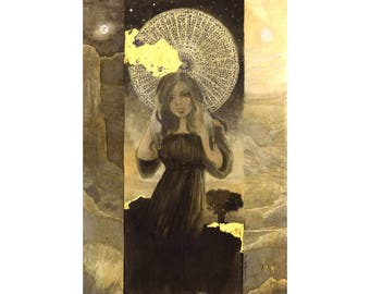 The Golden Hour Surreal Goddess Art