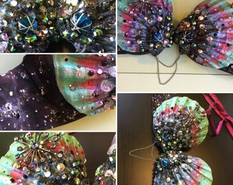 Couture Siren's Grotto Space Galaxy Mermaid Seashell Top (created & modeled by Traci Hines) *ready to ship