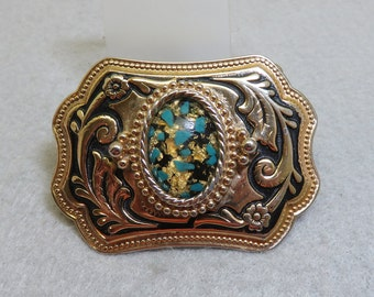 Women's Western Belt Buckle, Mint Condition, Small Size, Gold Flakes and Turquoise
