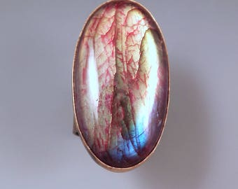 Labradorite- Spectrolite- Multi Color Swirl Patina- One of a Kind- Wide Band- Metal Art RedPaw Statement Ring