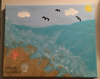 Ocean and Sand Canvas-Size 8x10