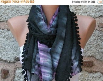 ON SALE --- Black & Pink Ombre Cotton Scarf,Fall Shawl, Batik Design Cowl bridesmaid gift Gift Ideas For Her Women fashion Accessories Pompo