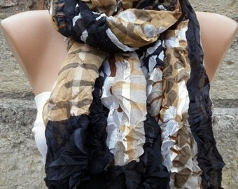 ON SALE --- Black & Brown Crinkle Scarf,Fall Shawl,Christmas Gift,Gift Ideas,Women Scarves,Holiday Scarf