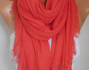ON SALE --- Red Cotton Soft Scarf,Summer Shawl,Bridesmaid Gift Cowl Oversized Wrap Gift Ideas For Her Women Fashion Accessories,Teacher Gift