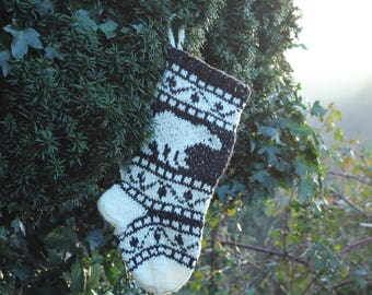 Small Christmas Stocking, Polar Bear Christmas Stocking, Knit Stocking, Wool Knit, FairIsle knit, Christmas ornament, ready to ship BlWhSR