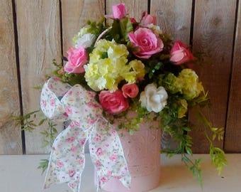 Spring Arrangement, Life like floral arrangement, Pink Roses, Shabby Cottage, Mother's Day, Birthday, Romantic cottage