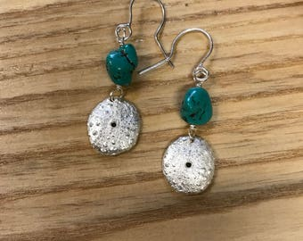 Silver shell earrings, fine silver, pmc and sterling, turquoise bead