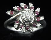 Mid Century Diamond Ruby 14k White Gold Ring Vintage Floral Estate Jewelry