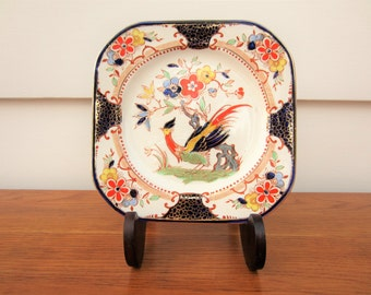 Vintage English bird plate with fantastic colors.