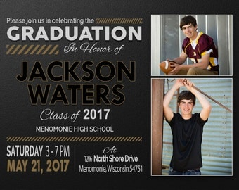 Graduation Party, Senior Announcements, Invitations, Graduation Invitation Templates, Graduation Invites, Graduation Announcement, Jackson W