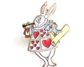 White Rabbit in Hearts Uniform from Alice in Wonderland Enamel Pin Gold Lapel Stocking Filler Gift for her Fans Pins Game Collectors Jewelry