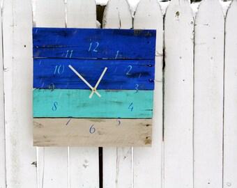 Beautiful OCEAN Blues Wall Clock Beach House Style. Reclaimed Pallet Wood Clock.