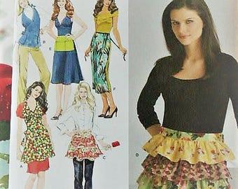 Womens Apron Pattern Simplicity Vintage Style Hostess Apron Full Apron Ruffle Half Apron 3752 Sewing Pattern Size S M L UNCUT