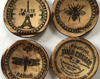 """4 Buttons large coconut buttons 2"""" (50mm) diameter set of 4 vintage signs"""