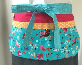 Teacher Apron/Utility Apron with 8 pockets and loop in aqua, pink, orange, birds and butterflies