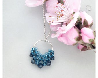 Swarovski Drop Pendant / Teal Blue Circle Pendant / Geometric Pendant / Crystal Pendant / Blue Jewel Tones / Beaded Necklace
