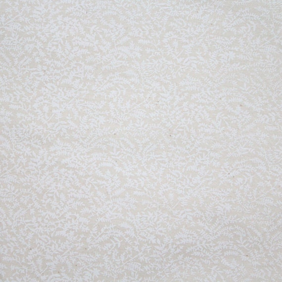 White tone on tone fabric,White tonal fabric,White fern fabric,100% cotton fabric,Quilt,Apparel,Craft,Sold by FAT QUARTER INCREMENTS