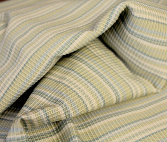 "Ribbed Fabric,Upholstery Fabric,Striped Fabric,Home Decor Fabric,Craft Fabric,Celery Green and Blue,END OF BOLT Remnant 23"" x 56"" Wide"