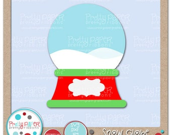 Snow Globe Cutting Files & Clip Art - Instant Download