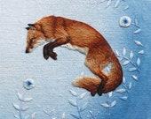 Leaping Fox Print